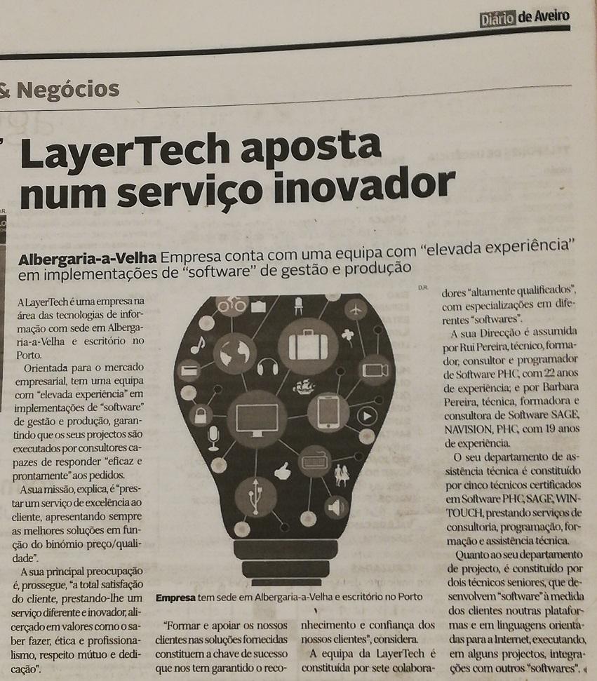 Layertech é noticia no Diário de Aveiro no suplemento de Economia / Empresas & Negócios